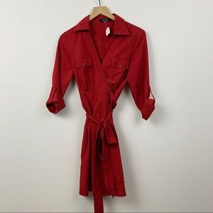 41Hawthorn Shirt Dress Red Button Down Size Small